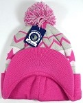 Wholesale Winter Visor Pom Pom Beanie - Zigzag Stripe and Stars - L. Grey | Hot Pink