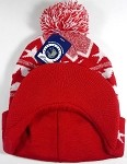 Wholesale Winter Visor Pom Pom Beanie - Holiday Stars - Red