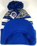 Wholesale Winter Visor Pom Pom Beanie - Plain Stripe - Charcoal | Royal Blue