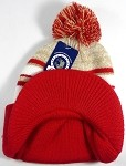Wholesale Winter Visor Pom Pom Beanie - Plain Stripe - Khaki | Red