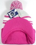 Wholesale Winter Visor Pom Pom Beanie - Plain Stripe - L. Grey | Hot Pink