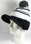 Wholesale Winter Visor Pom Pom Beanie - Plain Stripe - L. Grey | Black