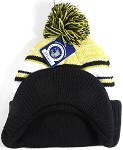 Wholesale Winter Visor Pom Pom Beanie - Plain Stripe - Mustard Yellow | Black