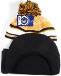 Wholesale Winter Visor Pom Pom Beanie - Plain Stripe - Orange | Black