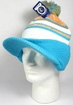 Wholesale Winter Visor Pom Pom Beanie - Plain Stripe - Orange | Sky Blue
