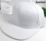 Junior Kids Wholesale Blank Snapback Hats  - Solid White