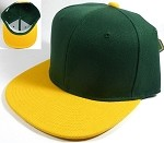 Wholesale Blank Snapback Hats Caps - Hunter Green | Yellow
