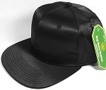 Crown Hat Original - Wholesale Faux Smooth Silk Blank Solid Snapback Caps - Black