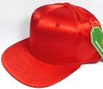 Crown Hat Original - Wholesale Faux Smooth Silk Blank Solid Snapback Caps - Red