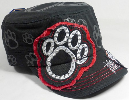 Wholesale Rhinestone Cadet Hat - Paw - Black (Red Trim)