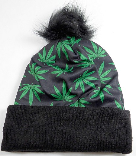 Wholesales Fashion Fur Pom Beanie Winter Hats - Cannabis - Black