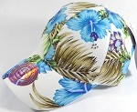 Wholesale Dad Hat - Blank Baseball Cap - Hawaiian Hibiscus - White Blue