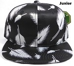 KIDS Jr. Plain Snap back Hats Wholesale - Feather - Black Solid