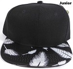 KIDS Jr. Plain Snap back Hats Wholesale - Feather - Black (Black Crown)
