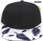 KIDS Jr. Plain Snap back Hats Wholesale - Feather - White (Black Crown)