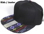 KIDS Jr. Plain Snap back Hats Wholesale - Aztec Blue Diamond - Black Crown
