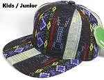 KIDS Jr. Plain Snap back Hats Wholesale - Aztec Blue Diamond - Solid