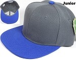 KIDS Jr. Plain Snap back Hats Wholesale - Two Tone - Dark Grey | Royal Blue