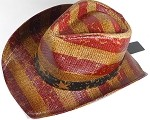 Cowboy Hat Wholesale - American Red and White Stripes - Vintage Brown