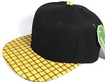 Wholesale Blank Snapback Cap - Cork Woodbrim - Wood Strawmesh Print