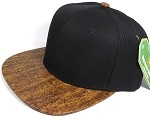 Wholesale Blank Snapback Cap - Cork Woodbrim - Dark Brown Oak