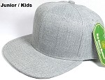 KIDS JUNIOR Bulk Blank Snapback Cap - Denim Light Grey Indigo - Solid
