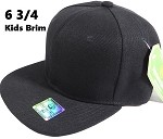 Fitted Size Caps - Wholesale Plain Hat - 6 3/4 - Black (Junior Brim)