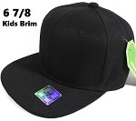 Fitted Size Caps - Wholesale Plain Hat - 6 7/8 - Black (Junior Brim)