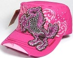 Wholesale Rhinestone Distressed Cadet Cap - Fancy Horse - Hot Pink