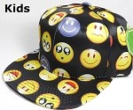 KIDS Jr. Wholesale Blank Snapback Emoji Caps - Solid - Black
