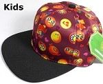 KIDS Jr. Wholesale Blank Snapback Emoji Caps - Black Brim - Burgundy