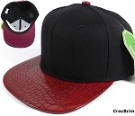 Blank Faux Alligatorskin Brim Snapback Hats Wholesale - Black | Burgundy