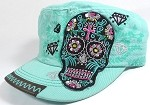 Wholesale Rhinestone Distressed Castro Vintage Hats - Diamond and Skull - Mint Green