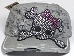 Wholesale Bling Distressed Cadet Vintage Caps - Cute and Girly Skull - Grey