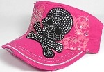 Wholesale Rhinestone Distressed Cadet Bling Caps - Pirate Skull - Hot Pink