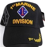 Licensed Military Hat -1st Marine Division - Black Ball Cap