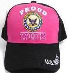 Wholesale US Navy Baseball Cap - Proud Wife of United States Soldier - Hot Pink