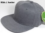 KIDS JUNIOR Bulk Blank Snapback Cap - Denim Charcoal Grey - Solid