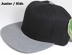 KIDS JUNIOR Bulk Blank Snapback Cap - Denim Heather Grey - Black Crown