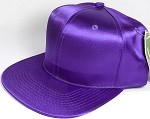 Crown Hat Original - Wholesale Faux Smooth Silk Blank Solid Snapback Caps - Purple