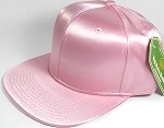 Crown Hat Original - Wholesale Faux Smooth Silk Blank Solid Snapback Caps - Light Pink