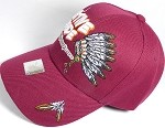 Wholesale Native Pride Baseball Cap - Chieftain's Peace Pipe - Burgundy