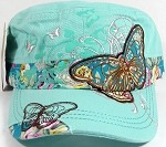 Rhinestone Distressed Butterfly Cadet Hats Floral Band Wholesale - Mint Green