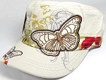 Rhinestone Distressed Butterfly Cadet Hats Floral Band Wholesale - Beige