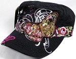 Rhinestone Distressed Butterfly Cadet Hats Floral Band Wholesale - Black