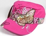 Rhinestone Distressed Butterfly Cadet Hats Floral Band Wholesale - Hot Pink