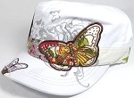 Rhinestone Distressed Butterfly Cadet Hats Floral Band Wholesale - White
