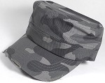 Blank Cadet Hats Wholesale - Charcoal Camo / Camouflage Distressed Caps