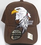 Wholesale Native Pride Baseball Cap - Eagle and Feather - Brown