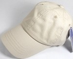 Washed 100% Cotton Plain Baseball Cap - Gold Metal Buckle - Beige